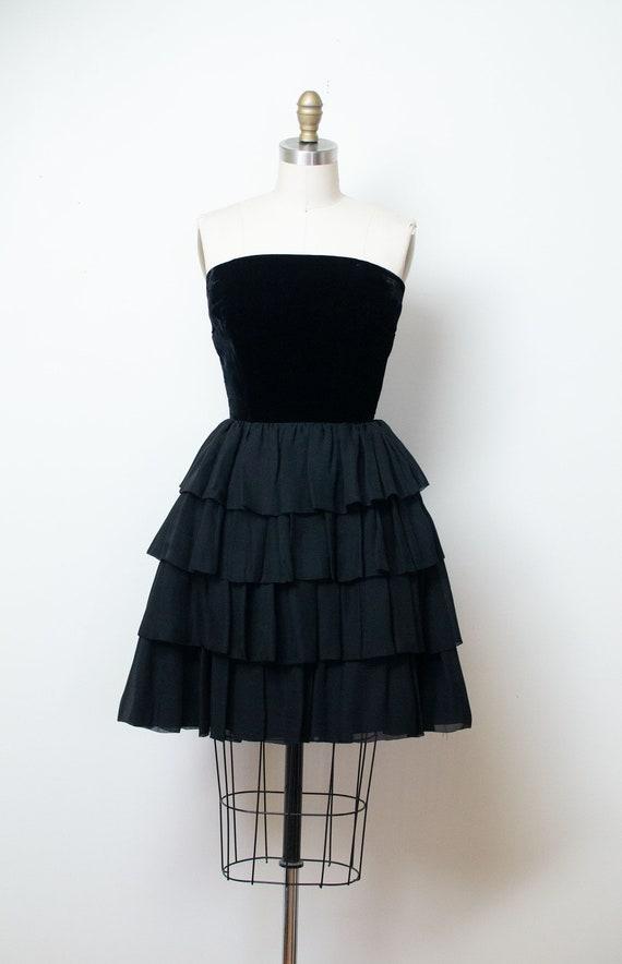 1960s Strapless Black Ruffled Dress | 60s Cocktail