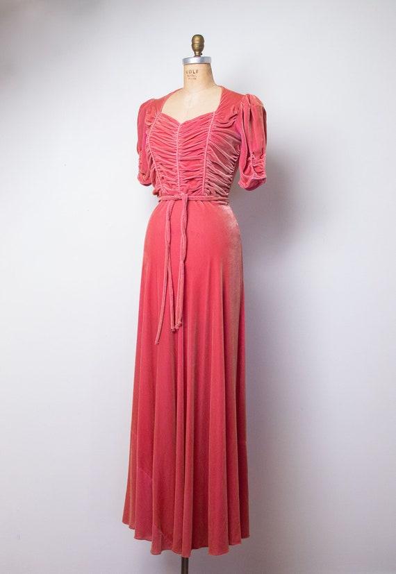 1930s Silk Velvet Gown / 30s 40s Pink Velvet Dress - image 3