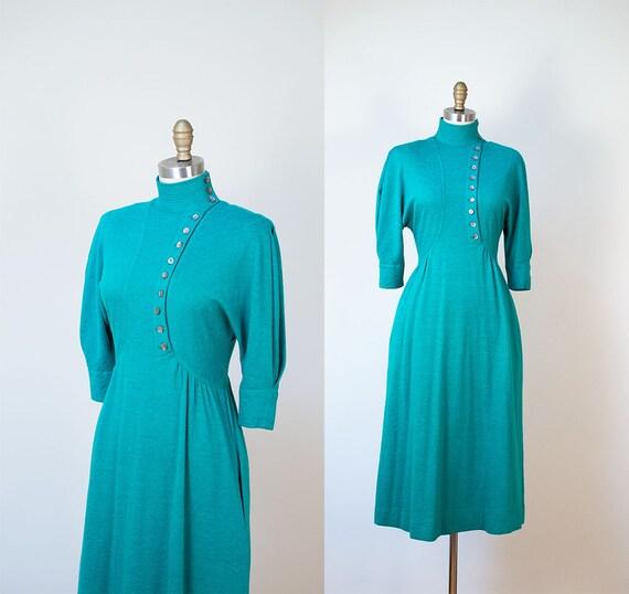 1970s Jean Muir Dress / 40s Style Wool Jersey Dres