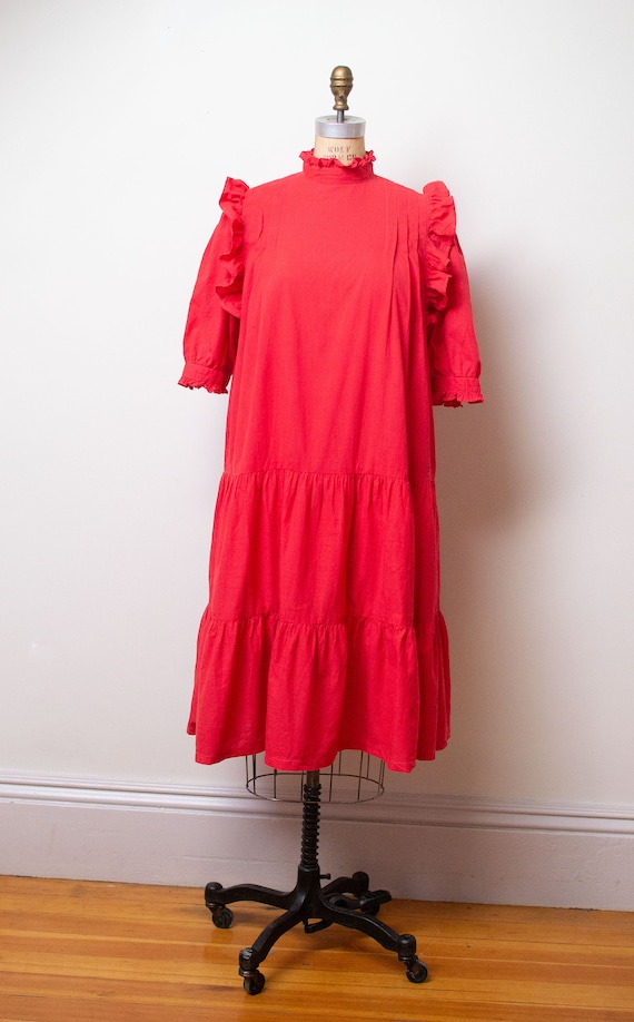 Vintage 1970s Ruffled Cotton Dress / Red Indian C… - image 8