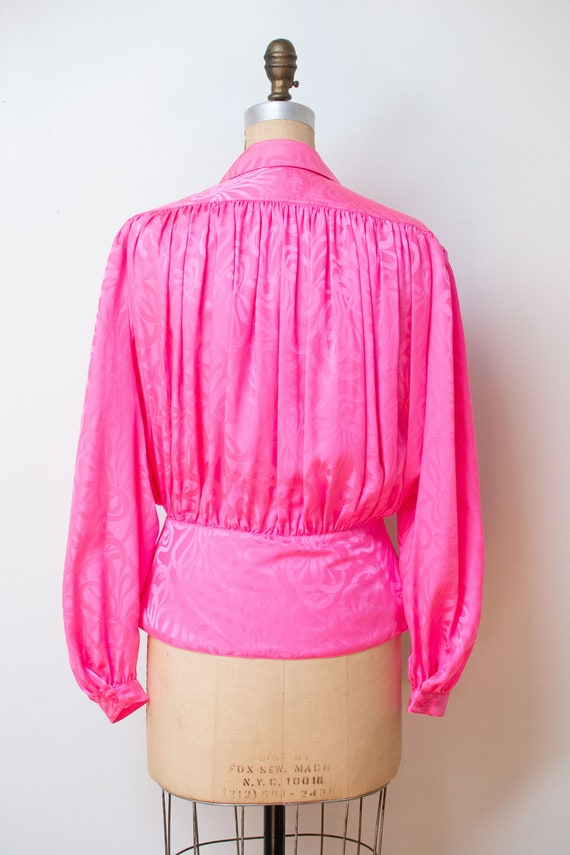 1980s Pink Silk Blouse - image 3