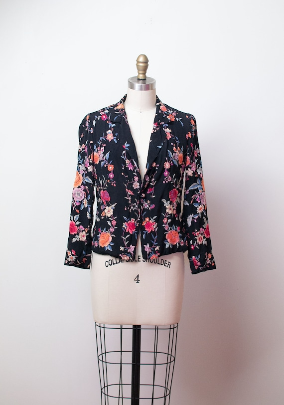1930s Chinese Embroidered Jacket / 30s Chinese Emb