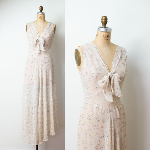 1930s Floral Print Gown / 30s Sheer Chiffon Dress