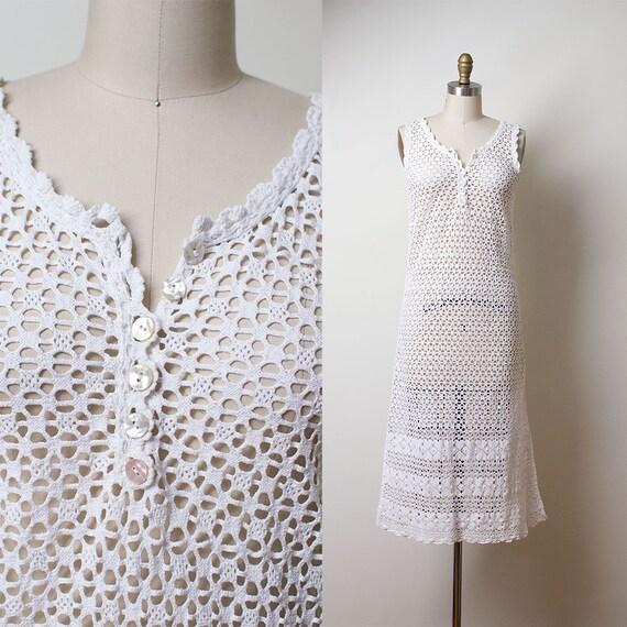 1970s Crochet Dress / 70s Sundress