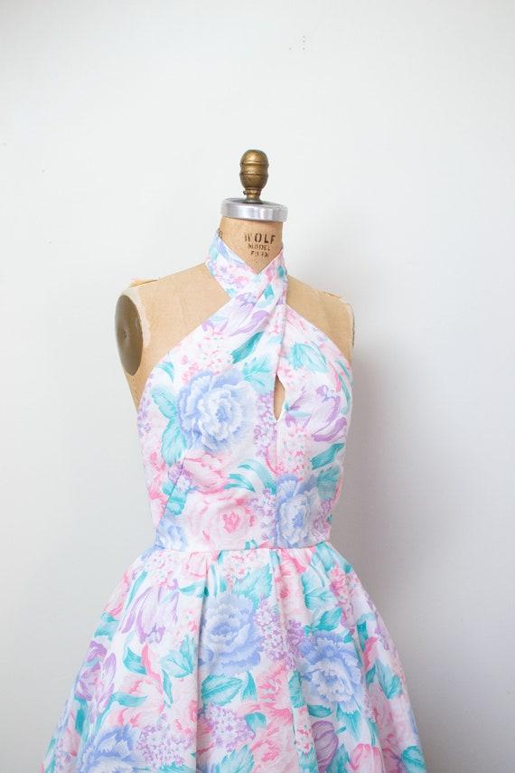 1980s Floral Print Halter Dress / 80s Cotton Sundr