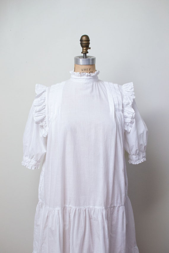 1970s Indian Cotton Dress | 1970s White Ruffled D… - image 9