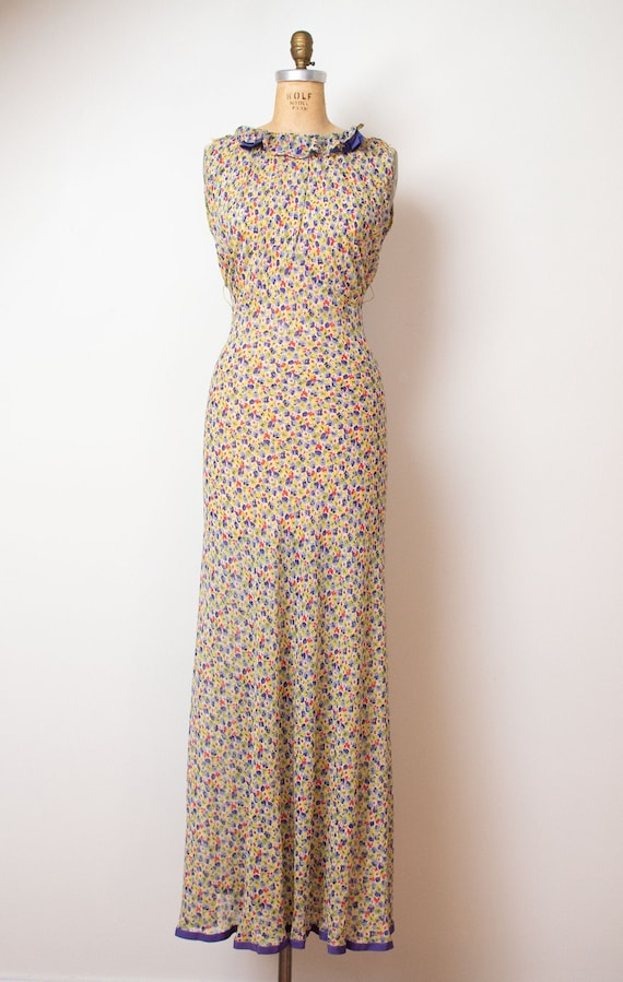 1930s Floral Print Chiffon Dress / 30s Sheer Bias