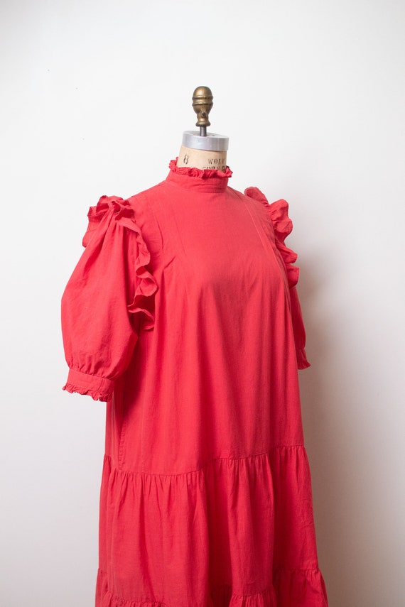 Vintage 1970s Ruffled Cotton Dress / Red Indian C… - image 10
