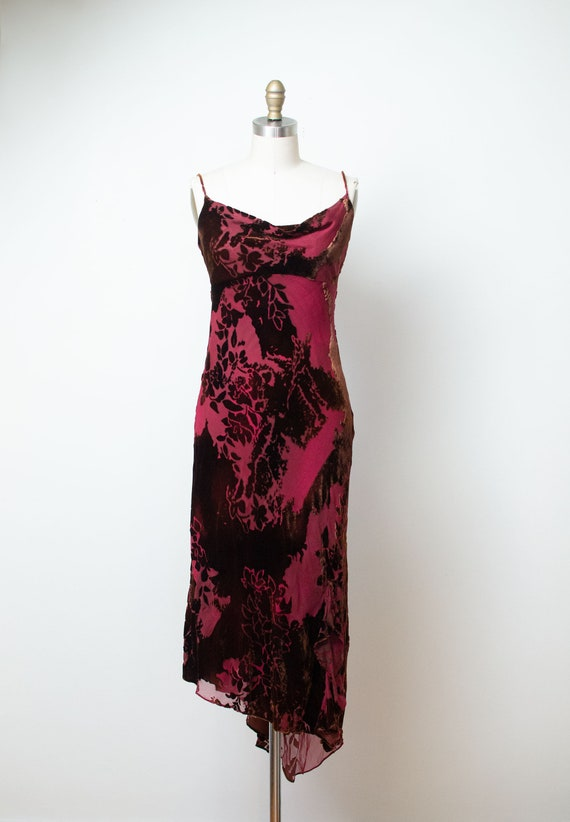 1990s Burnout Velvet Dress / 90s Bias Cut Slip Dre