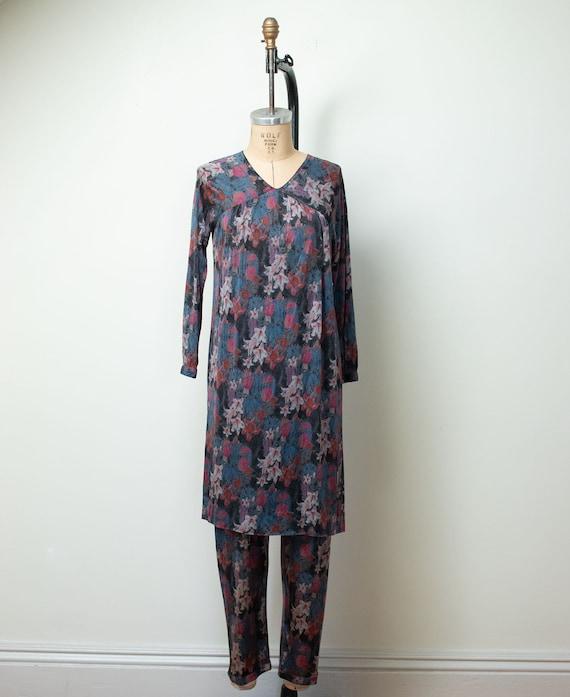 1970s Floral Print Silk Jersey Set |Vintage 70s M… - image 1