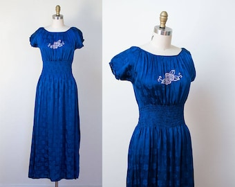 1940s Peasant Dress / 40s Cobalt blue Dress
