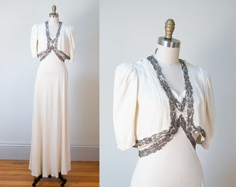 1930s White Crepe Wedding Gown / 30s Evening Gown