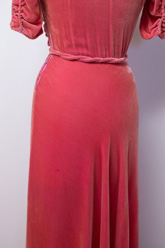 1930s Silk Velvet Gown / 30s 40s Pink Velvet Dress - image 10
