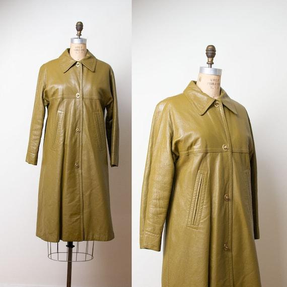 1970s Bonnie Cashin Coat / Olive Leather Coat