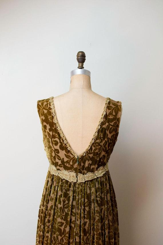 1990s Devore Velvet Dress / 90s Olive Green Burno… - image 7