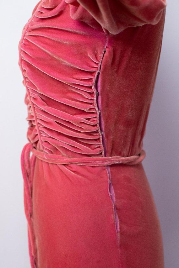 1930s Silk Velvet Gown / 30s 40s Pink Velvet Dress - image 6