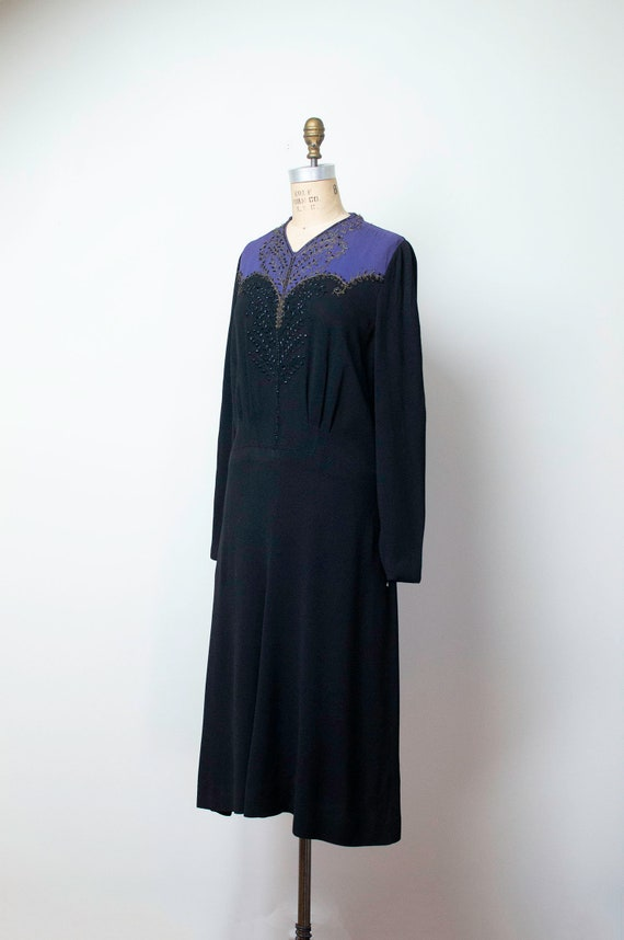 1940s Rayon Dress / 40s Color Block Beaded Dress … - image 4