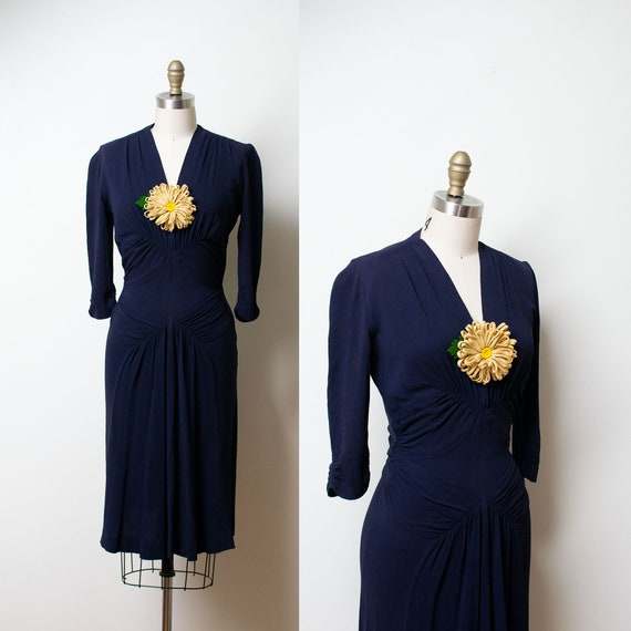 1940s New York Creation Dress / 40s Navy Blue Rayo