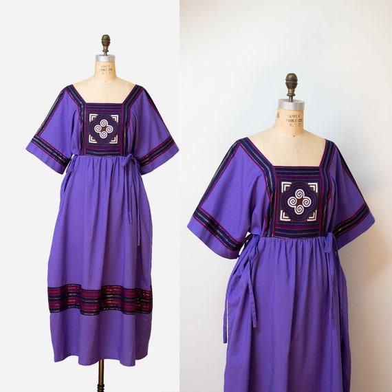 1980s Quilted Purple Dress / 80s Folk Thai Dress
