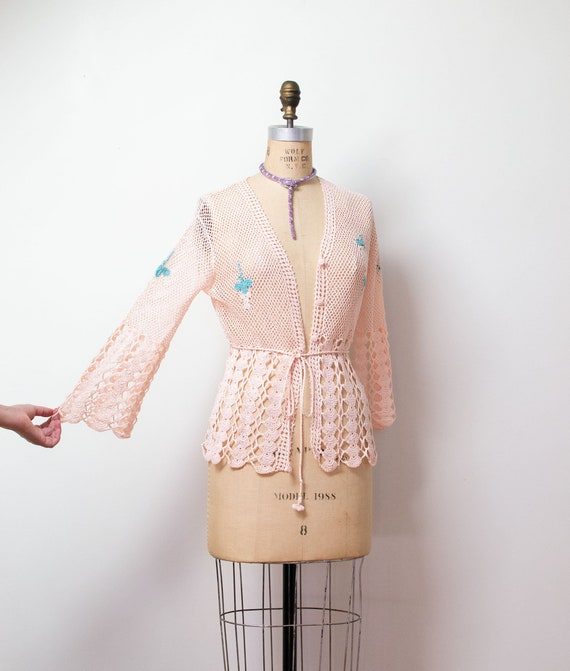 1970s Crochet Sweater / 1930s Style Pink Bell Slee
