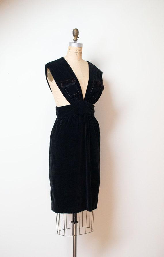 1940s Velvet Pinafore | 40s Fur Trim Dress - image 3