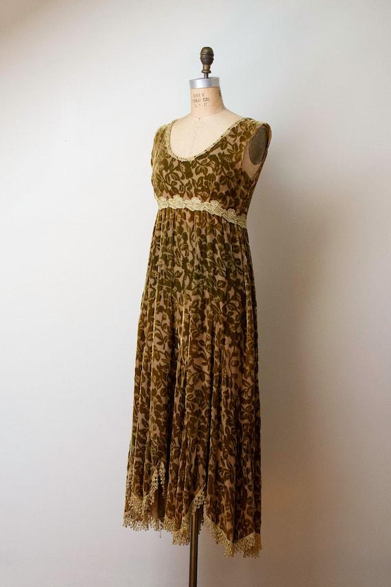 1990s Devore Velvet Dress / 90s Olive Green Burno… - image 4