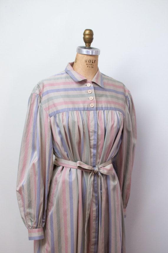 1980s Striped Shirtdress   80s Cotton Dress Adele