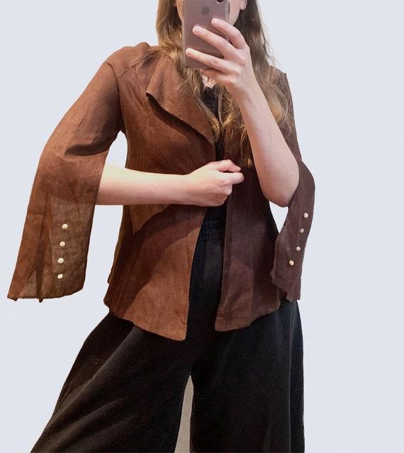 1940s Avant-Garde Blazer - Brown Linen Riding Jack