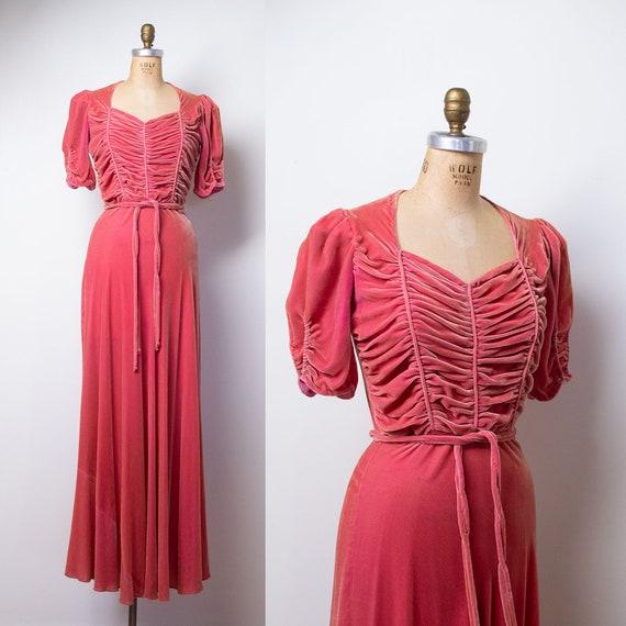 1930s Silk Velvet Gown / 30s 40s Pink Velvet Dress