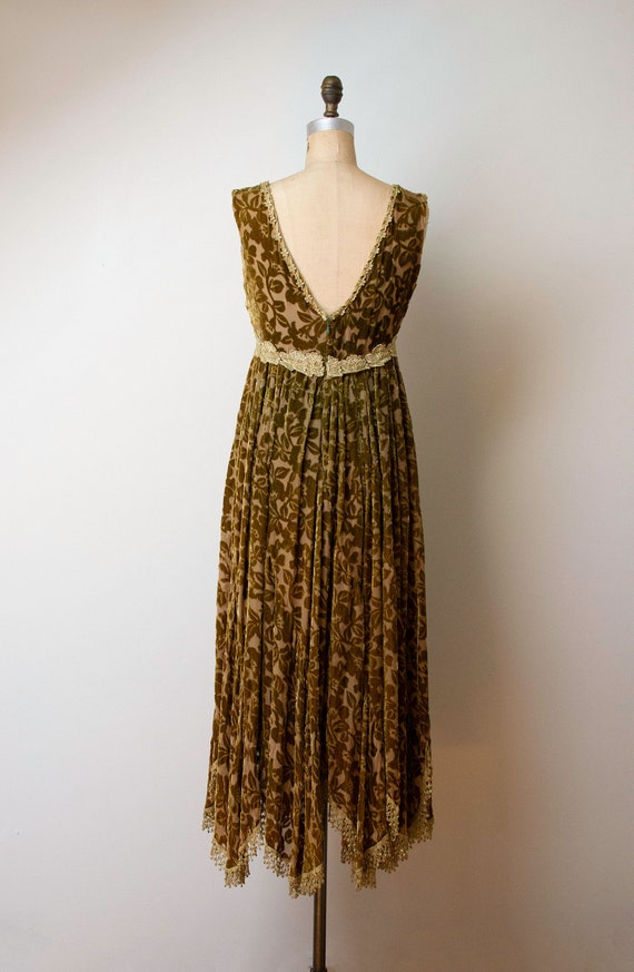 1990s Devore Velvet Dress / 90s Olive Green Burno… - image 6