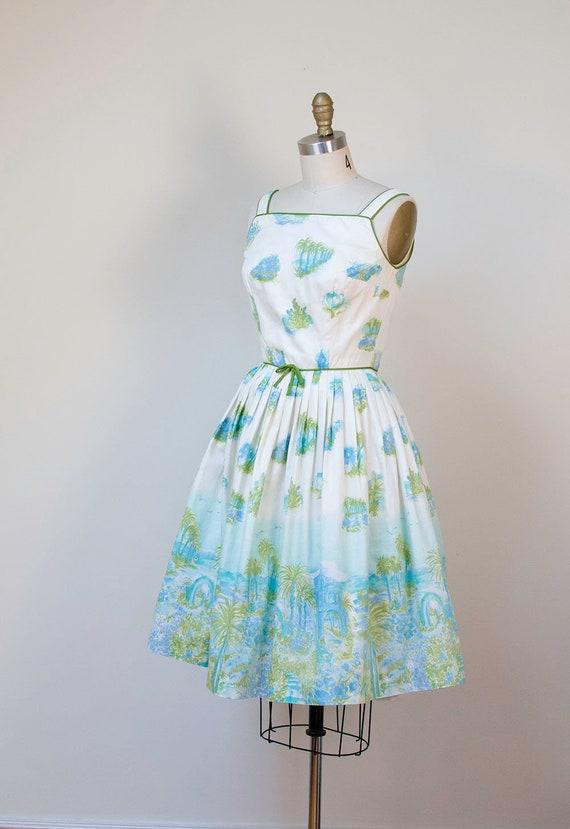 1950s Novelty Print Dress / 50s Tropical Border P… - image 4