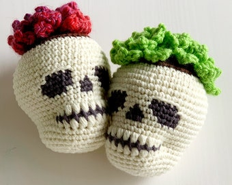 Crochet Pattern Combo: Skull Planter and Pointy Leaf Succulents - by Luluslittleshop