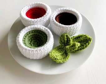 Crochet Patterns: Dipping Sauce and Basil Sprig- by Luluslittleshop