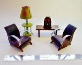 UNIQUE 1920s Vintage Antique Doll House Larger scale Miniature Art Deco French Arm Chairs Table Lamp Bakelite Radio Furniture Bleuette
