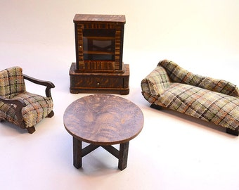 doll house miniature art deco german china cabinet chaise longue table armchair furniture dolls painted wood - Chaise Deco