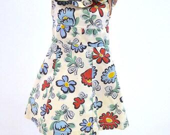 Kampes Knee-length Print DRESS 1920s1930s Authentic Vintage Fashion Cloth Doll Maker Atlantic City Original Kathe Kruse KAMKINS Louise R