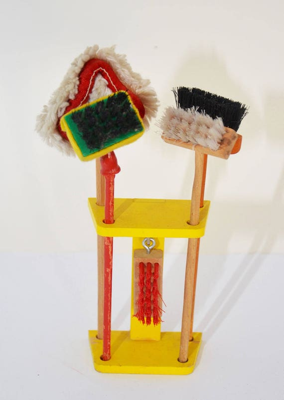and Duster Dolls House Vintage Mop