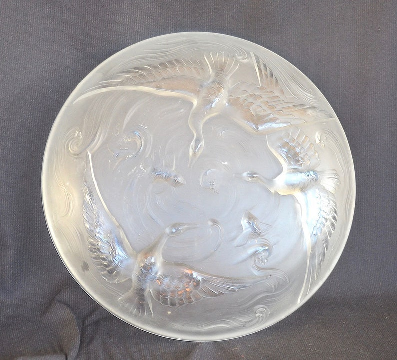 Sebino Lalique-Style VERLYS 1920s Auth.Original Art Deco French Low Bowl Designer Signed  Les Canards Sauvage Frosted Cubistic Modernist