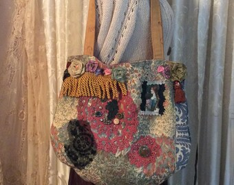 Decorated Tote Bag, OOAK bohemian purse, sturdy upholstery grade fabric bag, chenille jacquard wild flowers fabrics, beads buttons embellish
