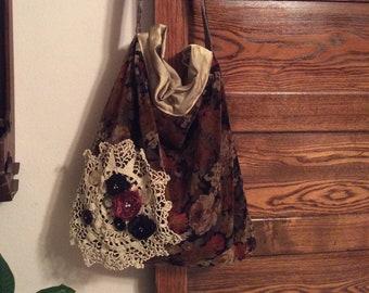 Brown Velvet Bag, handmade old fashion, brown black earth tones, vintage cotton velvet, long crossover body strap