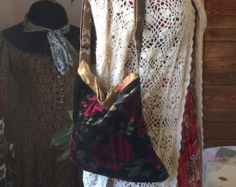 Rose Velvet Purse, floral fabric, black background, long adjustable crossover body strap