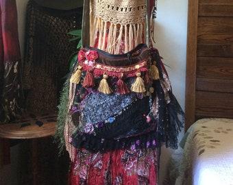 Boho Gypsy Bag, chenille tapestry, upholstery fabric, embellished fringe beaded tassels, long crossover body strap