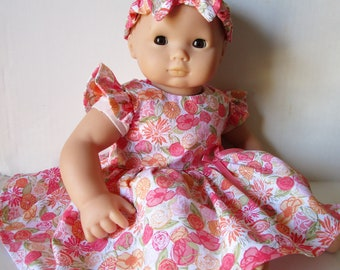 3 Pc Cabbage Rose Dress /& Pink Patent Shoes fits Bitty Baby Doll Clothes