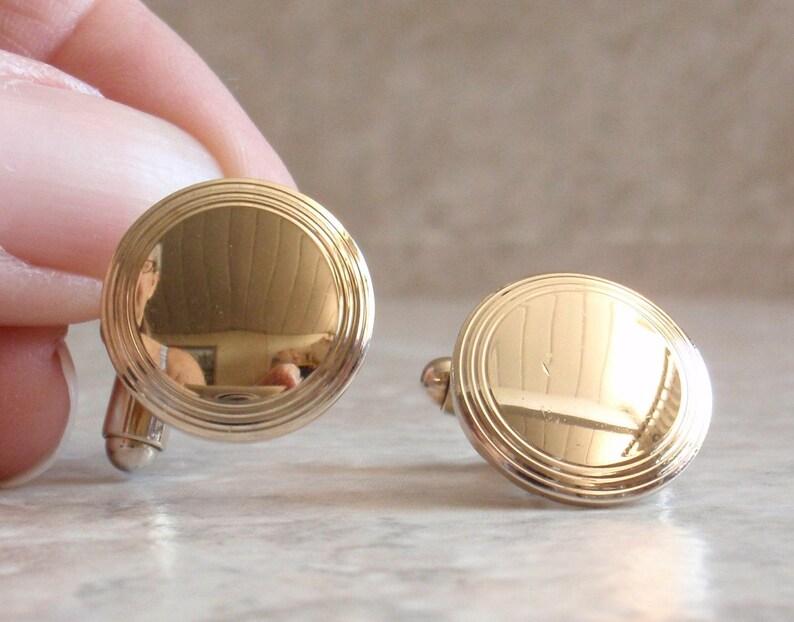 Round Gold Cufflinks Engravable Vintage