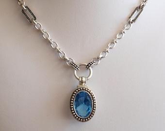 Avon Necklace Large Pendant Silver Tone Blue Glass Vintage V0588