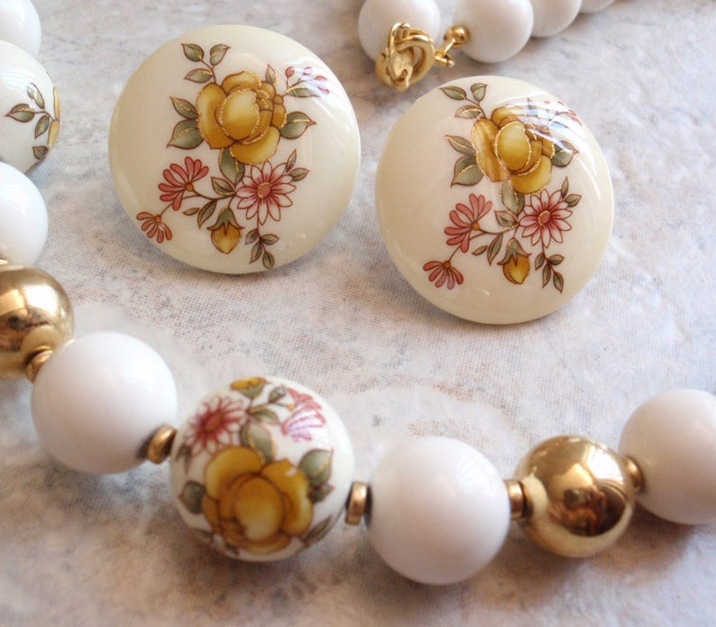 Yellow Rose Necklace Earring Set Ceramic Beaded Marked Japan Vintage
