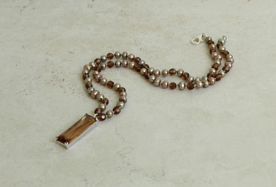 Smoky Quartz Colored Pendant Necklace Glass Elonga