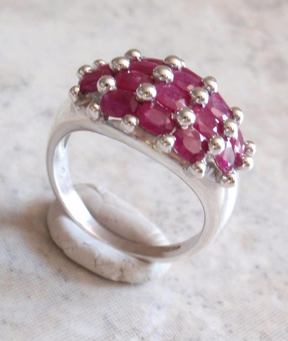 Ruby Ring Sterling Silver 16 Oval Rubies Size 9 Vi