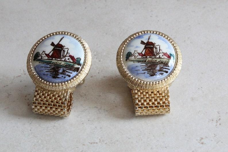 Delft Cufflinks Colored Handpainted Ceramic Gold Tone Mesh Wrap Swank Vintage