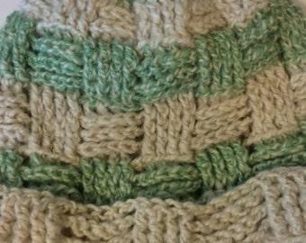 Alpaca Hat - Seafoam Green/White